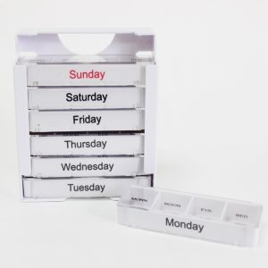 7days Push Button Plastic 28 cases Pill Container